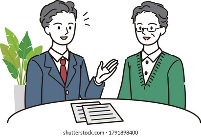 Senior woman consulting with an expert