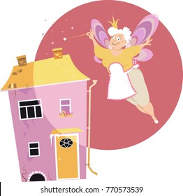 Senior woman with fairy wings and magic wand turning a dingy house beautiful, EPS 8 vector illustration
