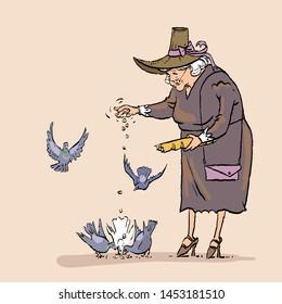 Senior Woman Feeding Birds, Old Lady Daily Activity. Grandmother feeds pigeons