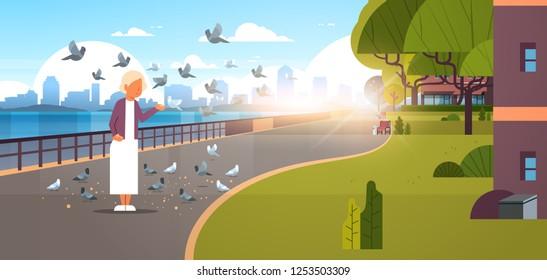 senior woman feeding flock of pigeon modern city quay urban cityscape skyscrapers background horizontal banner flat