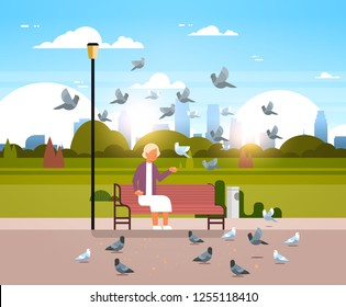 senior woman feeding flock of pigeon sitting wooden bench urban city park cityscape background horizontal flat
