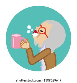 Senior woman gargling with water for prevent cold - Circular icon