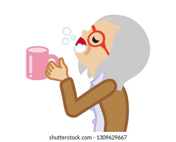 Senior woman gargling with water for prevent cold