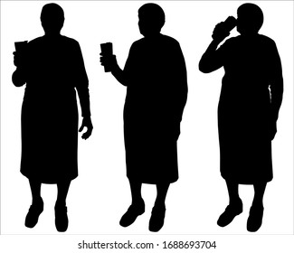 Senior woman hands holding a thermomug with a drink. Grandma drinks tea, coffee, juice from a mug. Stainless steel water bottle. Travel thermo mug. Vector illustration set of three black silhouettes.