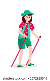 Senior woman with hat nordic walking flat illustration. Female pensioner holding ski poles cartoon character. Old sportswoman exercising in park vector clipart. Outdoor activities, healthy lifestyle