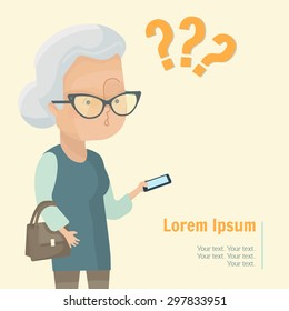 Senior Woman lifestyle vector illustration. Mature lady holding smartphone and looking surprised