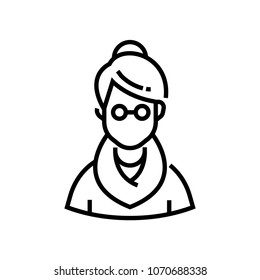 Senior woman - line design single isolated icon on white background. High quality minimalistic black pictogram, emblem. An image of a grandmother in sweater, wearing glasses. Avatar symbol