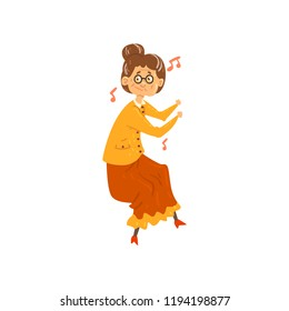 Senior woman listening to music and dancing, grandma having fun, elderly woman cartoon character leading an active lifestyle, social concept vector Illustration on a white background