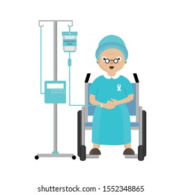 Senior woman patient with cancer. Chemotherapy and oncology disease concept. Cartoon vector