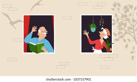 Senior woman taking care of her plants and greeting her neighbor who is reading a book at the window, EPS 8 vector illustration