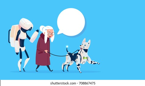 Senior Woman Walking With Robots Dog Chat Bubble Modern Grandmother Lady Flat Vector Illustration
