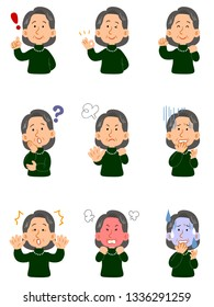 Senior woman wearing a green sweater, set of nine different poses, upper body