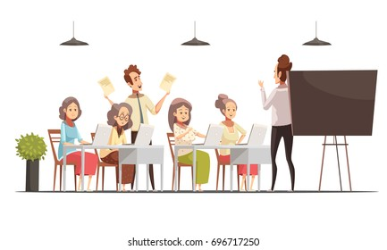 Senior women group computer class for older people retro cartoon poster with blackboard and laptops vector illustration