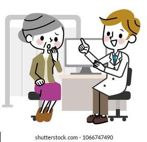 Senior women to medical examination.