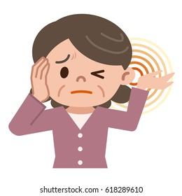 Senior women suffering from tinnitus