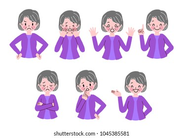 Senior women's gesture illustration