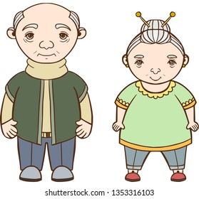 Seniors couple. Grandfather and grandmother in home clothes.  Vector.