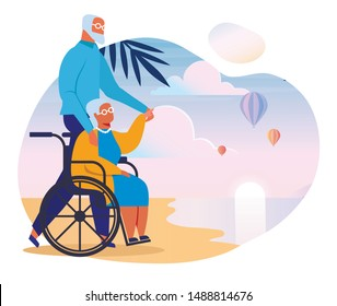 Seniors Couple on Sea Shore Vector Illustration. Old Man and Woman in Wheelchair Cartoon Characters. Happy Retirement. Elderly Married Pair on Beach Together. Husband and Wife Holding Hands