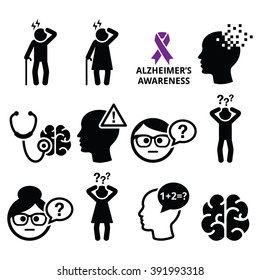 Seniors health - Alzheimer's disease and dementia, memory loss icons set