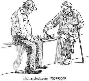 Seniors men play chess