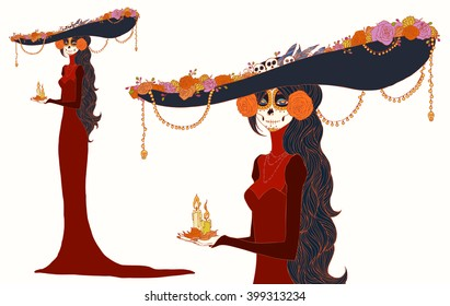 Senorita in Day of the Dead dress, holds candles. Vivid Cute card for Dia de los Muertos, doodle sugar scull girl (colorful with outline contour), cartoon caracter. Hand drawn vector illustration.