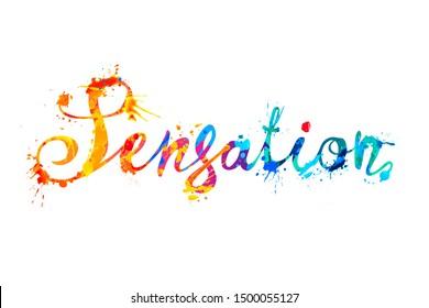 Sensation. Vector word of calligraphic splash paint letters