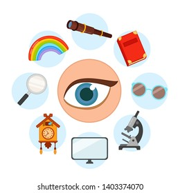 sense organs. Vision. Vector illustration.