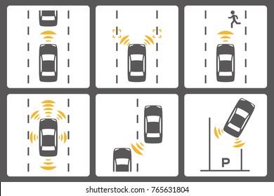 Sensing system of vehicle icon set. Autonomous car.