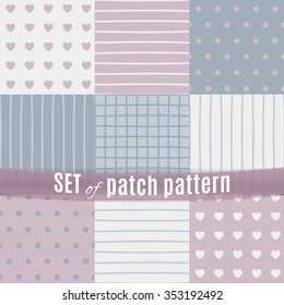 A sensitive set of nine seamless patch patterns. Made in pastel blue and pink tones. Fits perfectly for creative solutions in the textile and print production.
