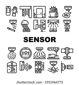 Sensor Electronic Tool Collection Icons Set Vector. Motion And Vibration, Beam And Humidity, Plant Watering And Dimension Gauge, Fire And Smoke Sensor Black Contour Illustrations