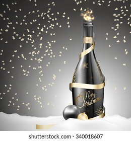 A sensual Illustration for Christmas. Send one to the magical world of Christmas. Designed in contrast gold black colors. Fits congratulations, cards, action ...