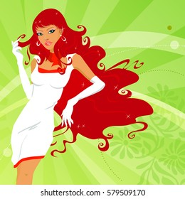 Sensual woman with red hair. Vector woman with white dress.