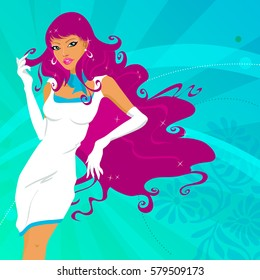 Sensual woman with white dress. Vector illustration.
