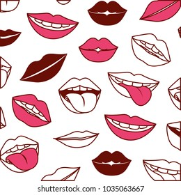 sensuality lips with tongue out pattern background
