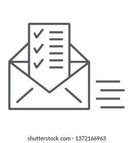 Sent document thin line icon, email and mail, envelope with list sign, vector graphics, a linear pattern on a white background, eps 10.