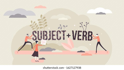 Sentence structure with subject and verb, flat tiny persons concept vector illustration. Learning language grammar and identifying word types. Writing and speaking principles, school study process.