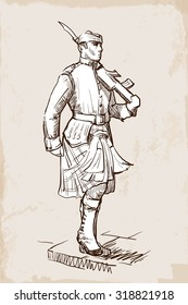 Sentry of the Royal Regiment of Scotland marching during guards change. Sketch over grunge textured background. EPS10 vector illustration.