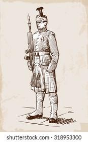Sentry of the Royal Regiment of Scotland standing during guards change. Sketch over grunge textured background. EPS10 vector illustration.
