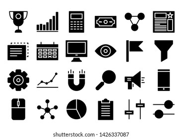 seo agency glyph icon symbol set