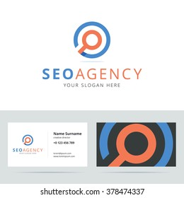 SEO agency logo and business card template. Vector illustration.