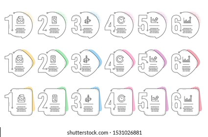 Seo analysis, Approved mail and Block diagram line icons set. Infographic timeline. Efficacy, Love chat and Time change signs. Targeting chart, Confirmed document, Algorithm path. Vector