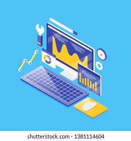Seo analysis, Business analytics,  data marketing concept, 3D, Isometric flat design vector background with objects and elements