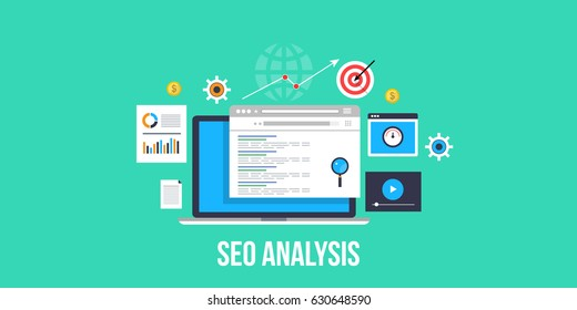 SEO analysis for search engine optimization, ranking improvement, website audit flat design vector concept