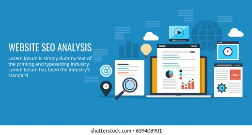 SEO analysis of website, audit, analytics for web flat design vector banner isolated on blue background