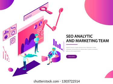 Seo analytic and marketing team landing web page
