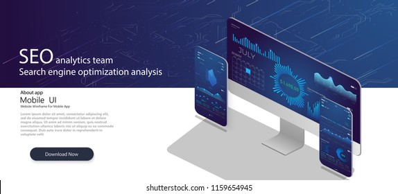 SEO analytics team landing page. Analytic web pages with charts.Search engine optimization analysis concept on ultraviolet background Vector 3d illustration