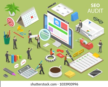 Seo audit flat isometric vector concept. People surrounded by the corresponding attributes are auditing the web site on the computer monitor.