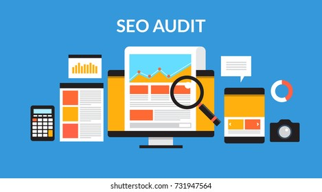 SEO Audit, Marketing  Digital, Business, Analysis flat vector banner with icons