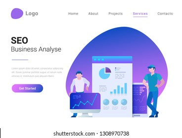 SEO Business Analysis Analytics Flat style landing page banner vector illustration. Men standing near devices and web browser with data charts, graphs, diagrams.