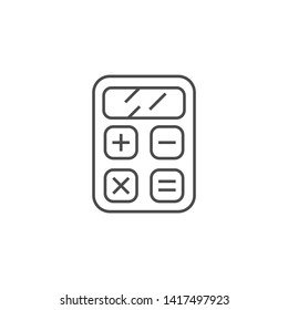 SEO Calculator Related Vector Thin Line Icon. Isolated on White Background. Editable Stroke. Vector Illustration.